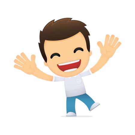 hombre caricatura: dibujos animados hombre informal divertida Vectores