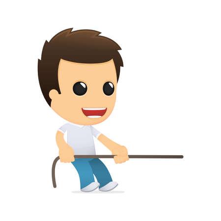 niño empujando: dibujos animados hombre informal divertida Vectores