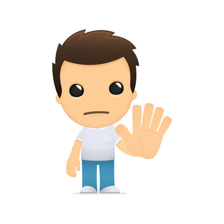 stop gesture: funny cartoon casual man Illustration