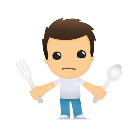 hungry kid: funny cartoon casual man Illustration