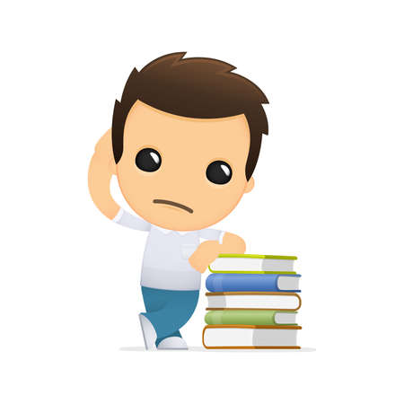 teaching adult: funny cartoon casual man Illustration