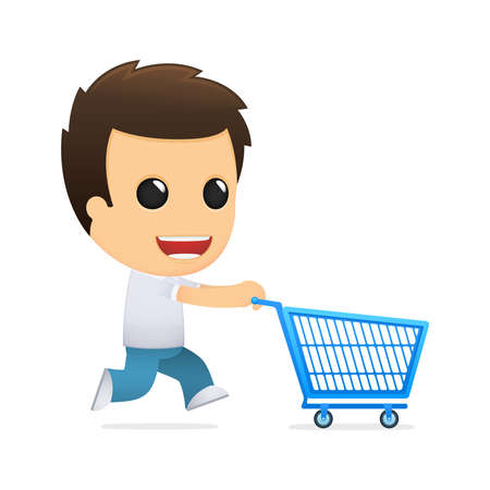 supermarket shopper: funny cartoon casual man Illustration