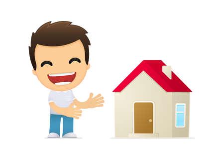 housing styles: funny cartoon casual man Illustration