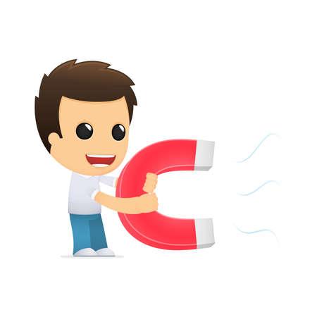 magnetismo: dibujos animados hombre informal divertida Vectores