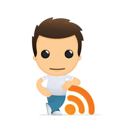 rss feed icon: funny cartoon casual man Illustration