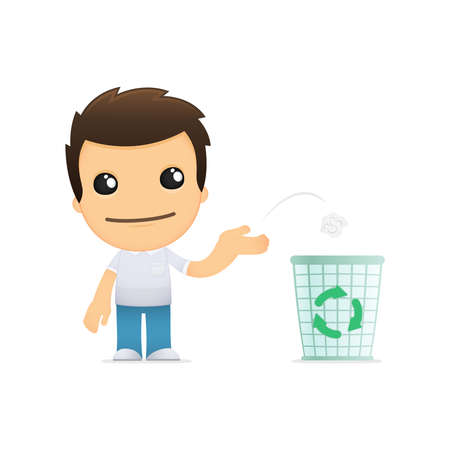 garbage bin: funny cartoon casual man Illustration