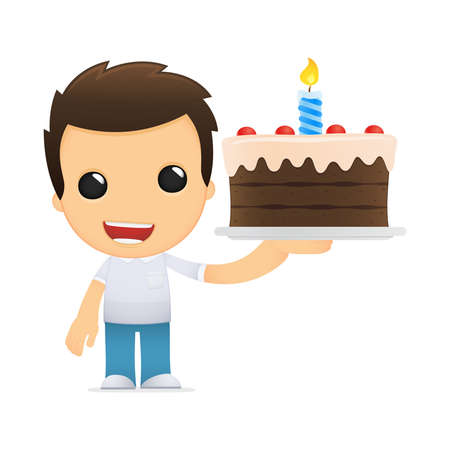 birthday candles: funny cartoon casual man Illustration