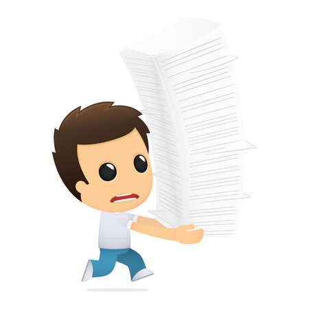 stack of documents: funny cartoon casual man Illustration