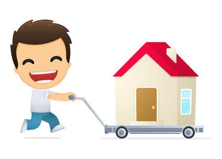 housing estate: funny cartoon casual man Illustration