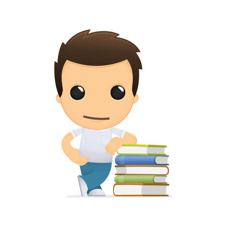 literary man: funny cartoon casual man Illustration