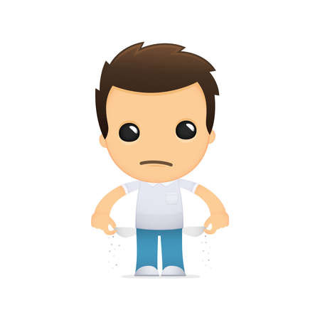 poor man: funny cartoon casual man Illustration