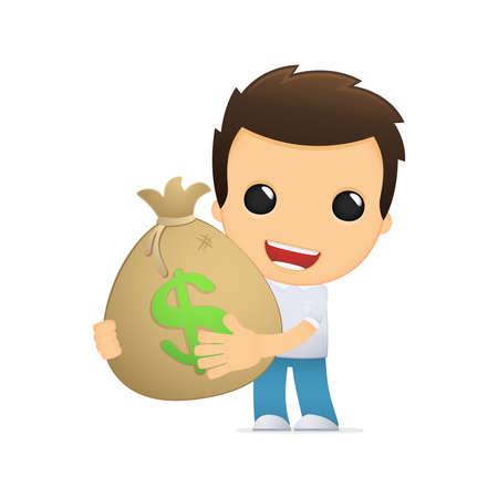 rich man: funny cartoon casual man Illustration