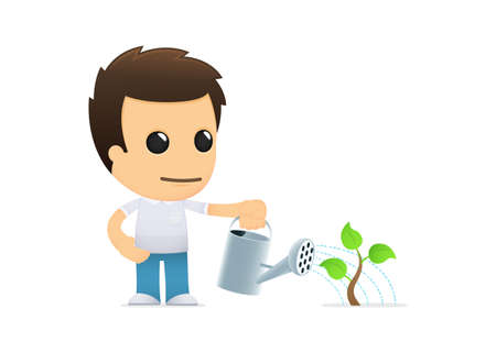 seedling growing: funny cartoon casual man Illustration