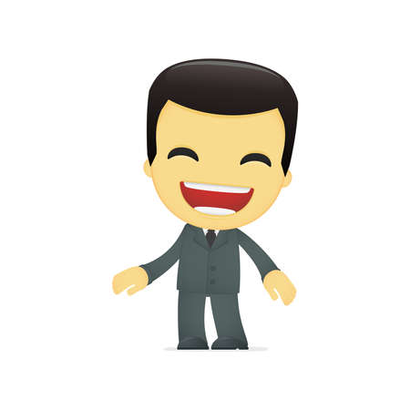 funny cartoon asian businessman Stock Vector - 13690382