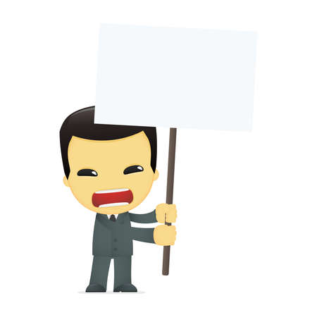 funny cartoon asian businessman Stock Vector - 13690495