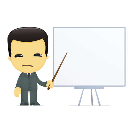 bad leadership: funny cartoon asian businessman