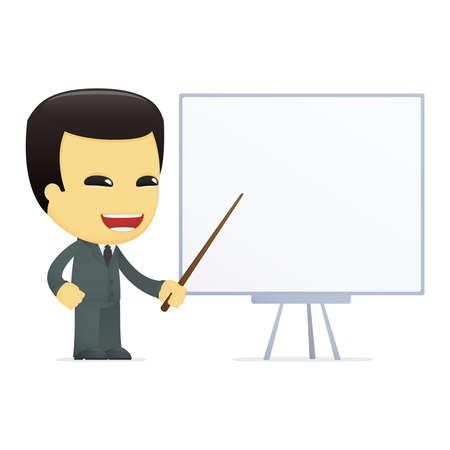 teaching adult: funny cartoon asian businessman