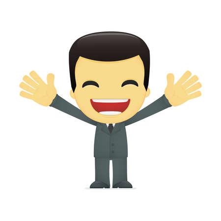 asian cartoon: funny cartoon asian businessman