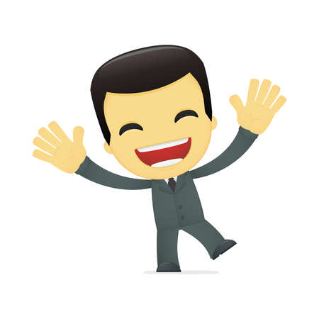 funny cartoon asian businessman Stock Vector - 13690383