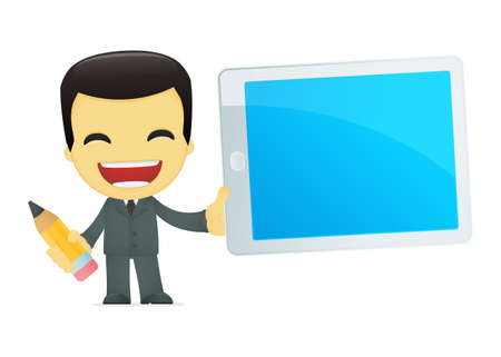 asian man laptop: funny cartoon asian businessman