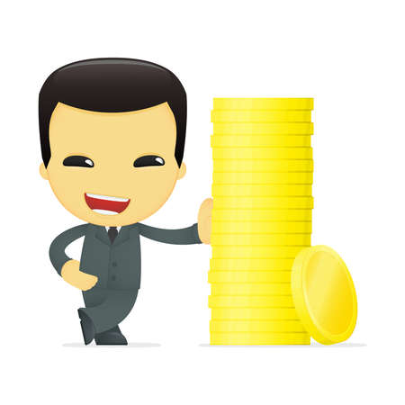 funny cartoon asian businessman Stock Vector - 13693241