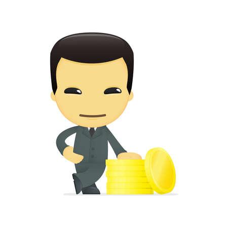 funny cartoon asian businessman Stock Vector - 13693105