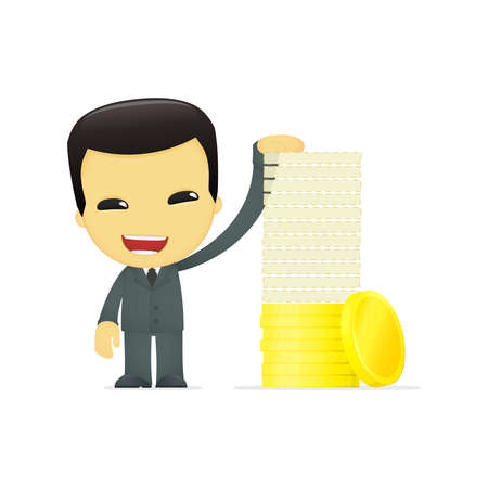 funny cartoon asian businessman Stock Vector - 13693294