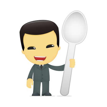 chinese fast food: hombre de negocios asi�tico historieta divertida Vectores