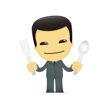 chinese fast food: hombre de negocios asi�tico divertido dibujo animado