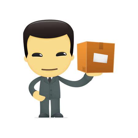 funny cartoon asian businessman Stock Vector - 13690522