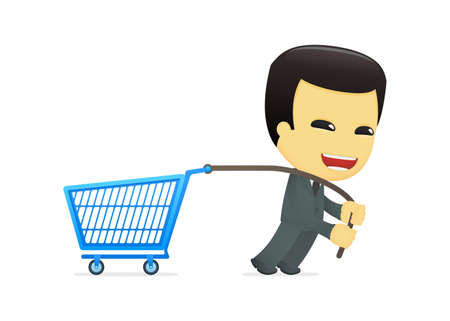 purchasing manager: funny cartoon asian businessman