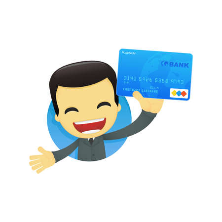 credit card debt: funny cartoon asian businessman