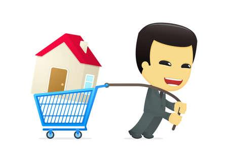 buy house: funny cartoon asian businessman