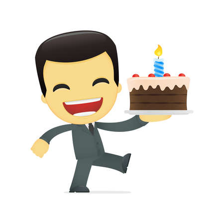 adult birthday party: funny cartoon asian businessman