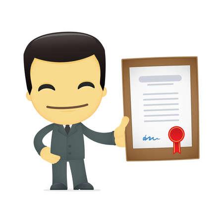 funny cartoon asian businessman Stock Vector - 13692643