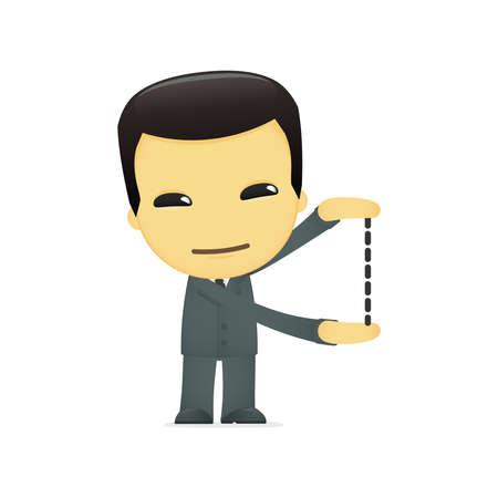 small scale: funny cartoon asian businessman