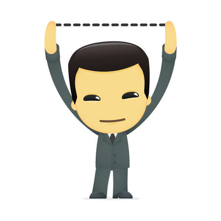 reaching: funny cartoon asian businessman