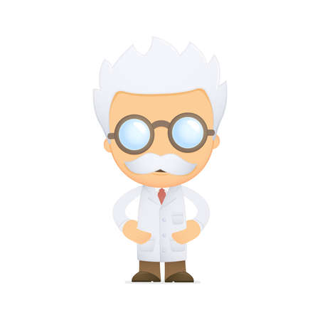 scientists: funny cartoon scientist Illustration