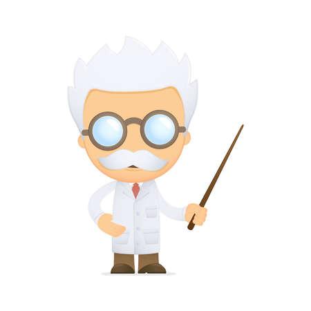 professor: funny cartoon scientist Illustration