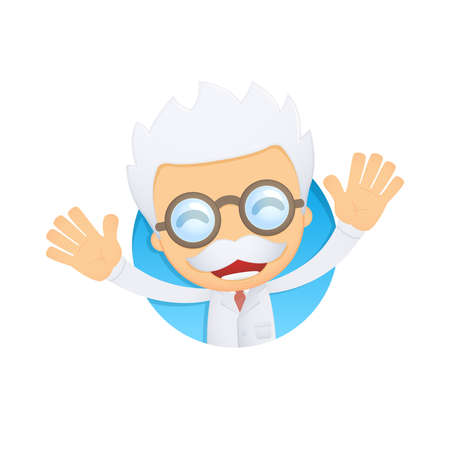 joking: funny cartoon scientist Illustration