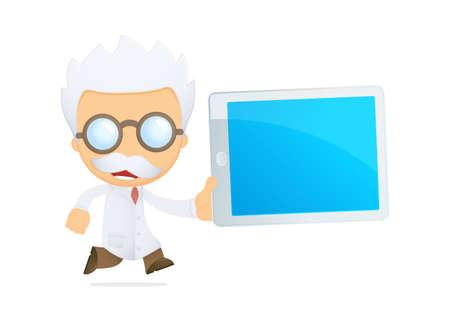 computer scientist: funny cartoon scientist Illustration