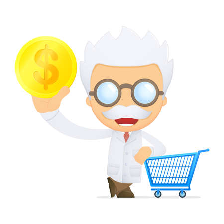 funny cartoon scientist Stock Vector - 13693158