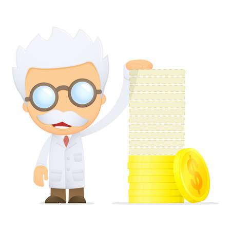 doctor with dollars: funny cartoon scientist Illustration