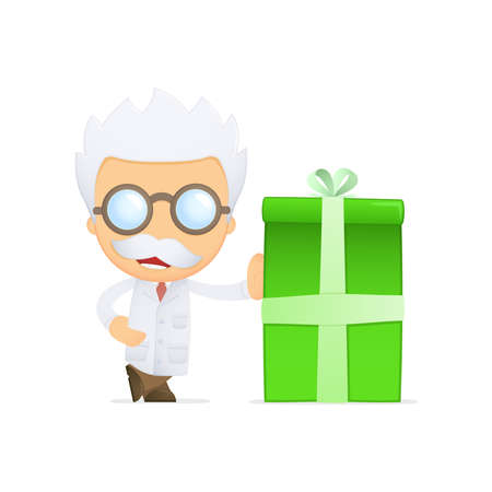 funny cartoon scientist Stock Vector - 13692902