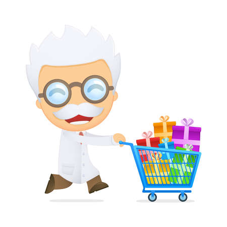 funny cartoon scientist Stock Vector - 13693292
