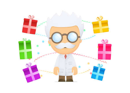 funny cartoon scientist Stock Vector - 13693281