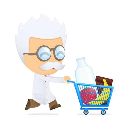 funny cartoon scientist Stock Vector - 13693238