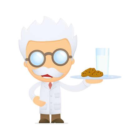 organic fluid: funny cartoon scientist Illustration