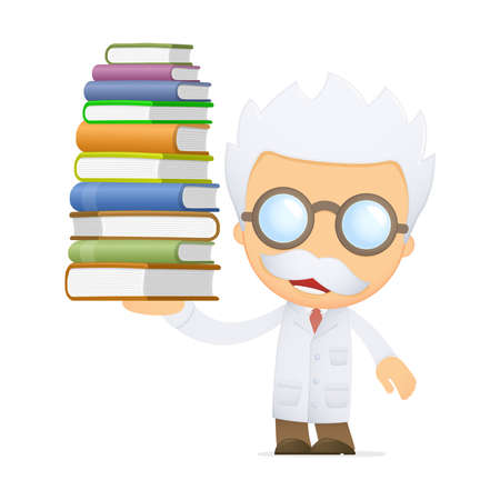 scientific experiment: funny cartoon scientist Illustration