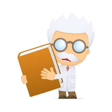 scientific: funny cartoon scientist Illustration